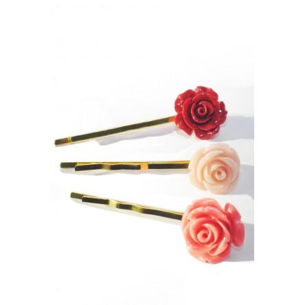 CORAL-ROSE HAIR PINS