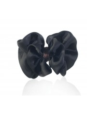 LIAH SATIN-FLOWER HAIR CLIP JET BLACK