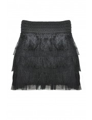 DE LIS FRINGED SKIRT JET BLACK