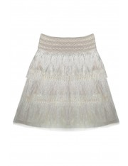 DE LIS FRINGED SKIRT PEARL WHITE
