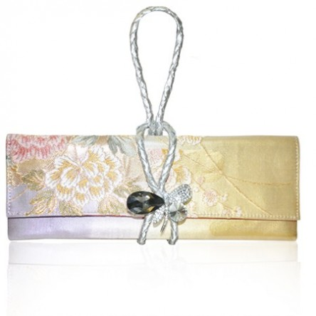 Obi with leather knot strap clutch