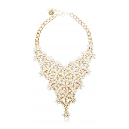 FLEUR STATEMENT NECKLACE WHITE