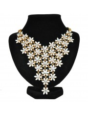 FLEUR STATEMENT NECKLACE WHITE - Sold Out