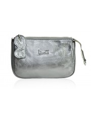 LUCY METALLIC SILVER LEATHER BAG