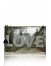 SUPER LOVE FAUX LEATHER LARGE CLUTCH
