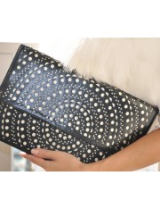 ELLAS FAUX LEATHER LASER-CUT CLUTCH- Sold Out