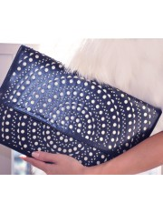 ELLAS FAUX LEATHER LASER-CUT CLUTCH SAILOR NAVY - Sold Out
