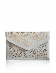AGATHE FAUX LEATHER LASER CUT CLUTCH ECRU