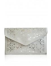 EISA FAUX LEATHER LASER-CUT CLUTCH BISCUIT