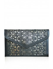 EISA FAUX LEATHER LASER-CUT CLUTCH BLACK