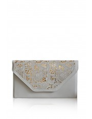 AVENALL FAUX LEATHER LASER-CUT CLUTCH ECRU - Sold Out