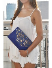 AVENALL FAUX LEATHER LASER-CUT CLUTCH ELECTRIC BLUE - Sold Out