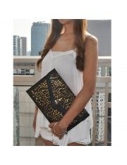 AGATHE FAUX LEATHER LASER CUT CLUTCH - Sold Out