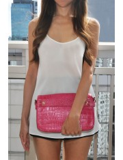 NIKI EMBOSSED LEATHER CLUTCH MAGENTA
