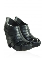 EDDA LEATHER WEDGE ANKLE BOOTS - Sold Out